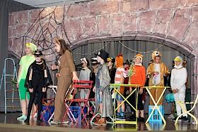 """Das Musical """"Die fürchterlichen Fünf"""" der Klasse 5c begeisterte das Publikum."""